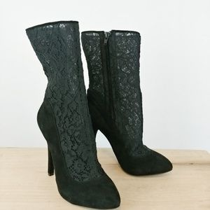 DOLCE & GABBANA | black suede lace heeled booties